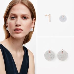 COS Concrete and Rose Gold Disc Stud Earrings
